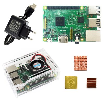 Raspberry Pi 3 Model B Starter Kit - Pi 3 Board / Pi 3 Case / EU Power  Plug/with Logo Heatsinks Pi3b/pPi 3b with Wifi Bluetooth